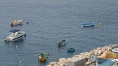 Valletta, Malta  Motor Boats in a Quiet Bay Stock Footage