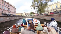 Walk tourist boat St. Petersburg Stock Footage