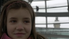 Germany, Berlin, Child inside Reichstag Glass Dome, January 9, 2017 Stock Footage
