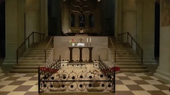 Tomb limestone statues inside Brunswick Cathedral tilt up Braunschweig Germany Stock Footage