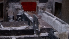 Molten metal flowing liquid aluminium casting at foundry  Stock Footage