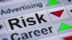 """Risk"" on the screen. Looping. Stock Footage"