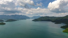 Aerial view on Cheow Lan Lake in Thailand Stock Footage