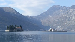 St. George island and old Perast the artificial island Gospa od Skrpjela Stock Footage