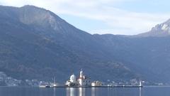 Old Perast the artificial island Gospa od Skrpjela Stock Footage