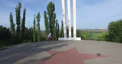 Voronezh, Russia, Monument to airplane of the Second World War. Rural landscape Stock Footage