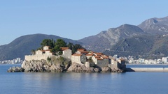 Sveti Stefan a small islet Stock Footage