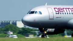 Airbus A 319 starting on runway Stock Footage