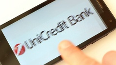 Largest banks in Europe on smartphone screen Stock Footage