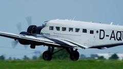 Ju 52 - Aunt JU landing on runway Stock Footage