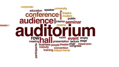 Auditorium animated word cloud, text design animation. Stock Footage