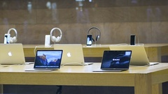 Apple MacBook Pro laptops presentation range in Apple Store Stock Footage