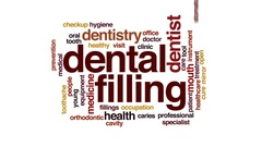 Dental filling animated word cloud, text design animation. Stock Footage