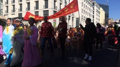 People In Costumes During Chinese New Year Parade Stock Footage