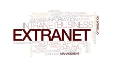 Extranet animated word cloud, text design animation. Kinetic typography. Stock Footage