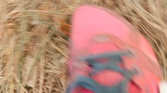 POV footage of runner feet running at forest Stock Footage