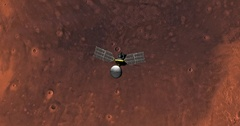 Top view of Mars Reconnaissance Orbiter in orbit above Mare Acidalium Region  Stock Footage