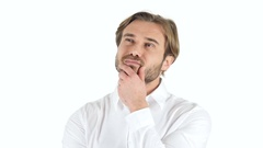 Thinking Pensive Man, white Background Stock Footage