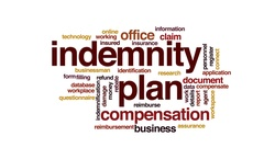 Indemnity plan animated word cloud, text design animation. Stock Footage