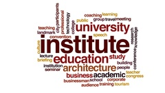 Institute animated word cloud, text design animation. Stock Footage
