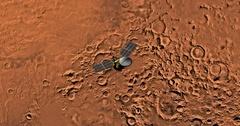 Top view of Mars Reconnaissance Orbiter in orbit above Hellas Region  Stock Footage