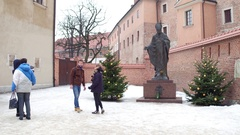 KRAKOW, POLAND -  Steadicam shot of tourists making photos near Stock Footage