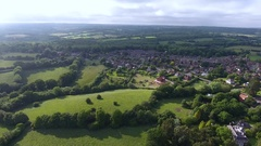 East Sussex countryside and rural residential area from the air Stock Footage