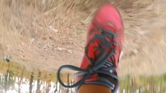 Slow motion view from camera attached to female leg running in forest Stock Footage