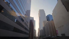 Business Center from morning till evening. Moving sun in car or bus Stock Footage