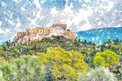 Parthenon and Herodium construction in Acropolis Hill in Athens Stock Illustration
