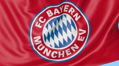 Close-up of waving flag with FC Bayern Munich football club emblem, seamless Stock Footage