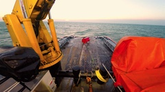 Deck of Anchor Handling Tug Boat AHTS Stock Footage