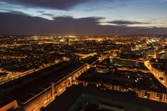 Switzerland, Basel, Basel-Stadt, Cityscape at dusk Stock Photos