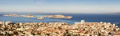 France, Provence-Alpes-Cote d'Azur, Marseille, Cityscape with sea in background Stock Photos