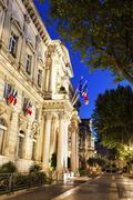 France, Provence-Alpes-Cote d'Azur, Avignon, Street at night Stock Photos