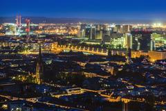 Switzerland, Basel, Basel-Stadt, Cityscape at night Stock Photos