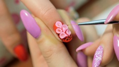 Manicure - Volume floristry on nails. manicurist working closeup Stock Footage