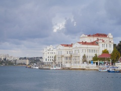 View of the Palace of Childhood and Adolescence and Aquarium, Sevastopol, Boats Stock Footage