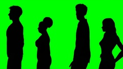 Four people in line on a green screen Stock Footage