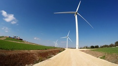 Driving through the new wind farm in mountain Gilboa, Israel Stock Footage