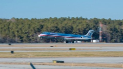 American Airlines DC9 MD-82 Jet Airliner Landing at RDU Stock Footage