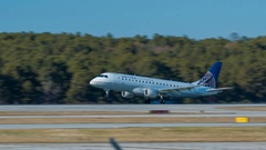 United Express Embraer 170 Jet Airliner Landing at Raleigh Airport Stock Footage