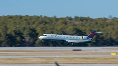 Delta Connection CRJ700 Regional Jet Airliner Landing at RDU Airport Stock Footage