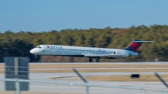 Delta Airlines MD-88 Jet Airliner Landing at Raleigh-Durham RDU Airport Stock Footage