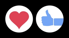 Love and Like Social Media Emoticon Animations Stock Footage