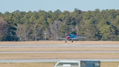 AT-6D Texan Aircraft Landing at Raleigh NC Airport Stock Footage