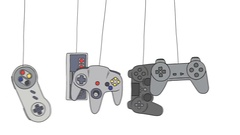 Cartoon Joysticks of a Video Game Consoles Swinging Stock Footage