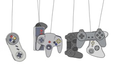 Cartoon Joysticks of a Video Game Consoles Swinging Stock Footage