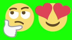 Two Emoticons for Skeptical and Love Emotions Stock Footage
