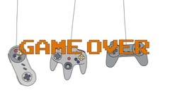 GAME OVER on Different Joysticks Background Hanging on their Wire Stock Footage
